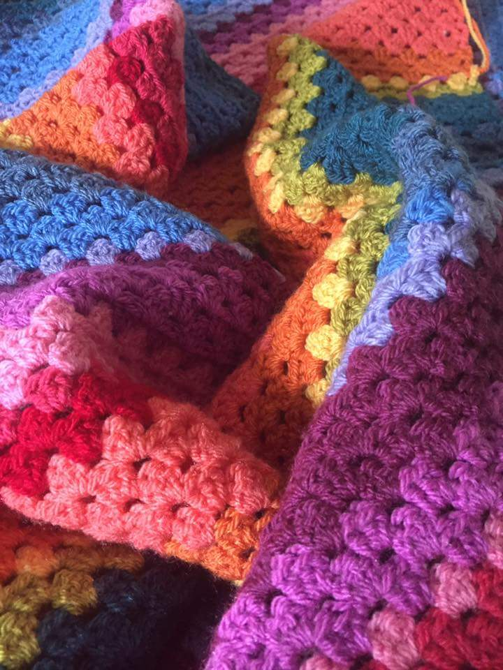 Creative Therapy Jules Robinson crochet rainbow blanket