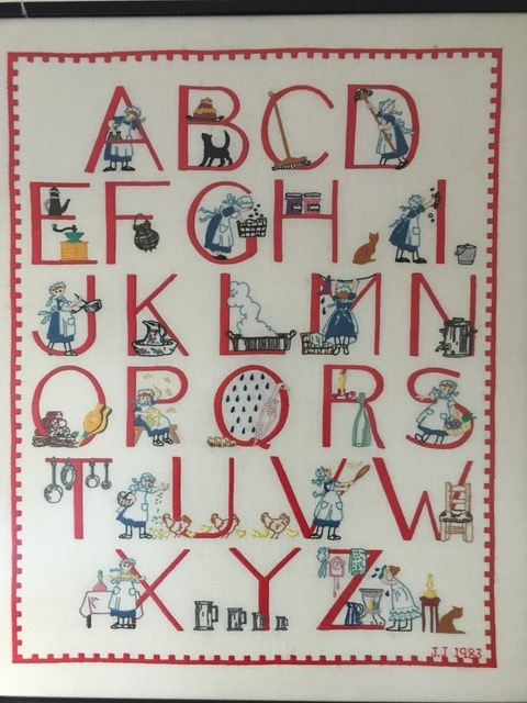 Creative Therapy: Jan Scott cross stitch alphabet sampler